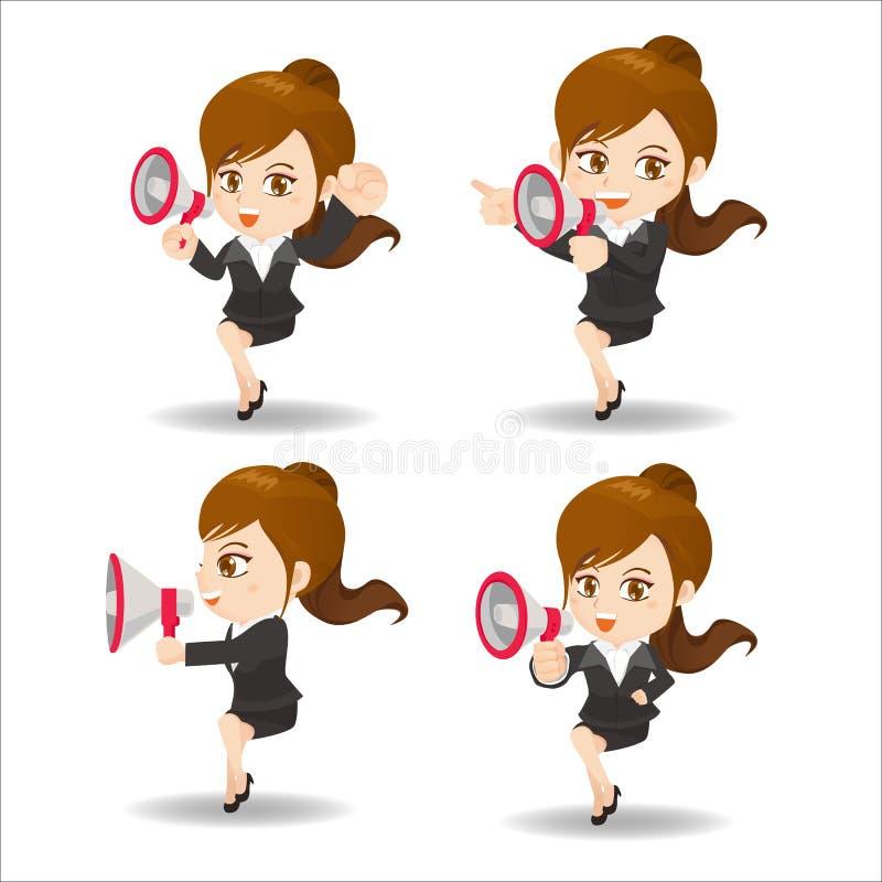 Business woman show trumpet. Cartoon set of Business woman sit and shout trumpet and bullhorn vector illustration