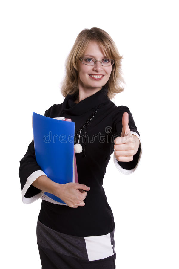 Business woman showing the all OK sign royalty free stock photography