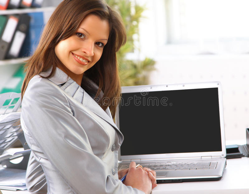 business woman showing blank laptop screen ready stock photos