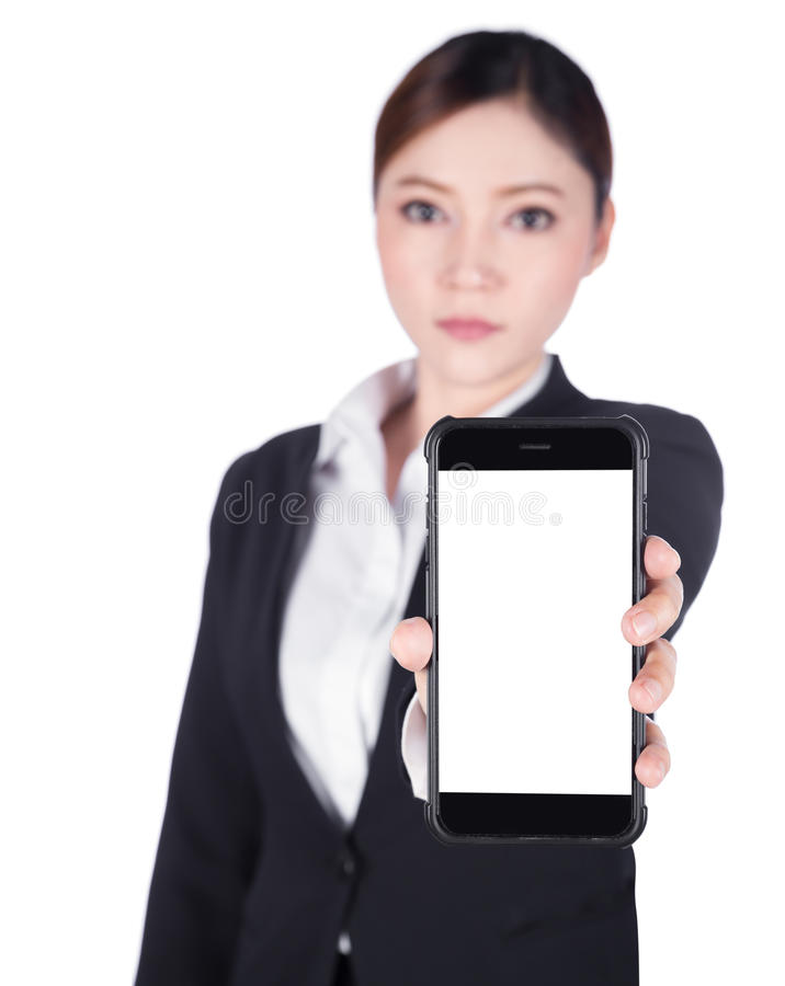 business woman showing blank screen mobile phone isolated on white background royalty free stock photography