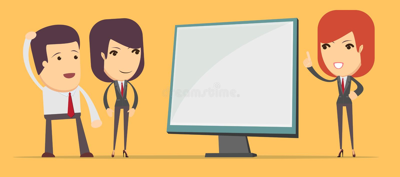 Business woman showing on the board vector illustration