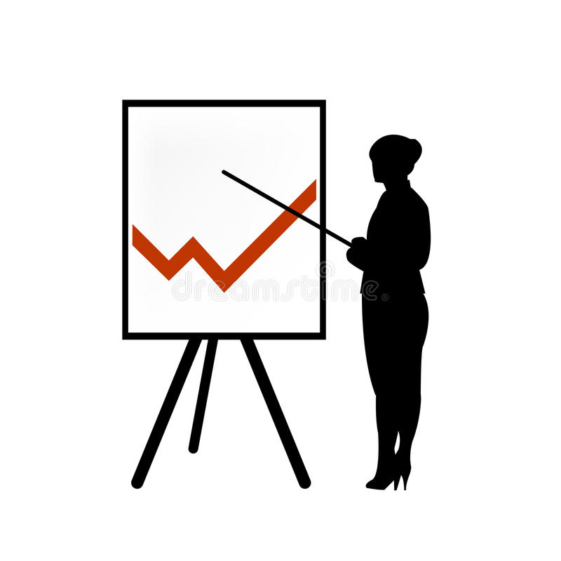 Business woman showing a chart. Vector illustration of a business woman pointing at a table with a diagram of economic value changes stock illustration