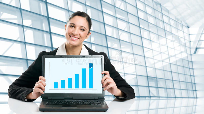 Download Business Woman Showing Growing Chart Stock Image - Image: 12424553