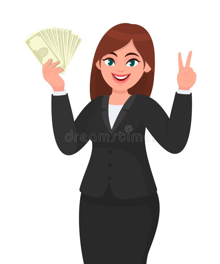 Business woman showing, holding bunch of money, cash, dollar, currency, banknotes in hand and gesturing, making victory, V, peace. vector illustration
