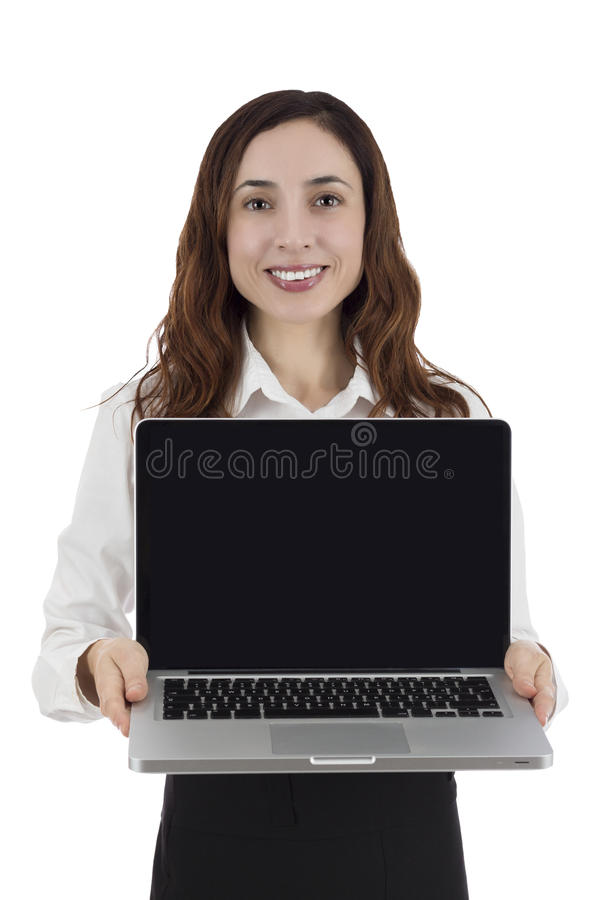 Business woman showing laptop. Business woman presenting laptop with a black empty screen, isolated on white background royalty free stock images