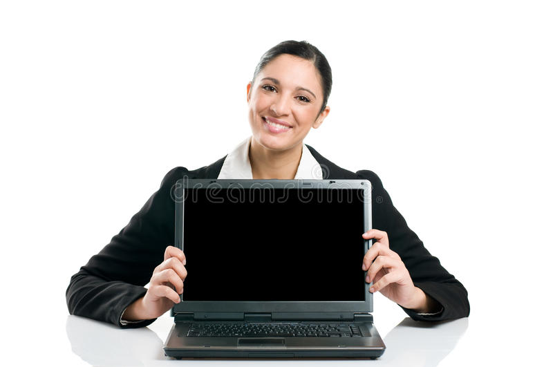 Download Business Woman Showing Laptop Screen Stock Image - Image: 14052741