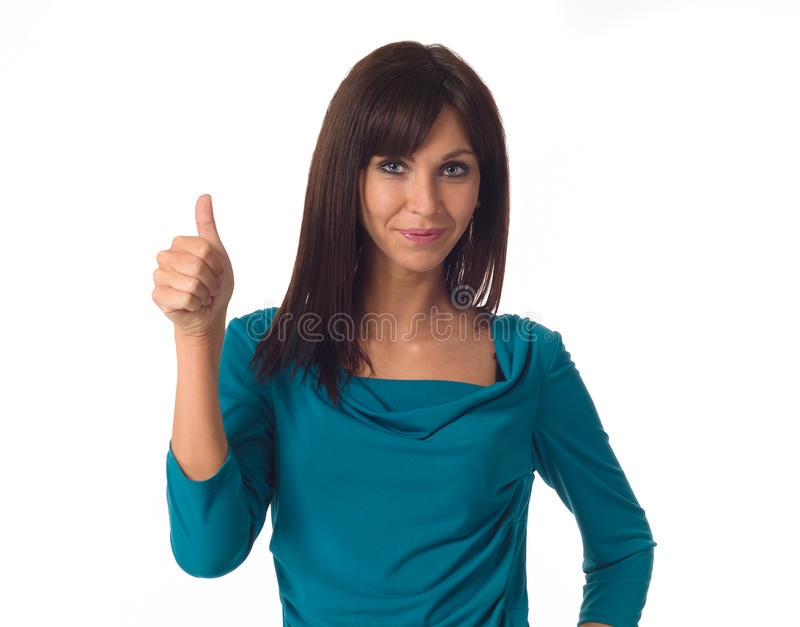 Business woman showing ok sign. Beautiful business woman showing ok sign - isolated over a white background royalty free stock photos