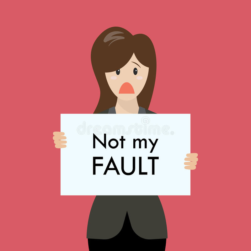 Business woman showing sign not my fault failed stock illustration