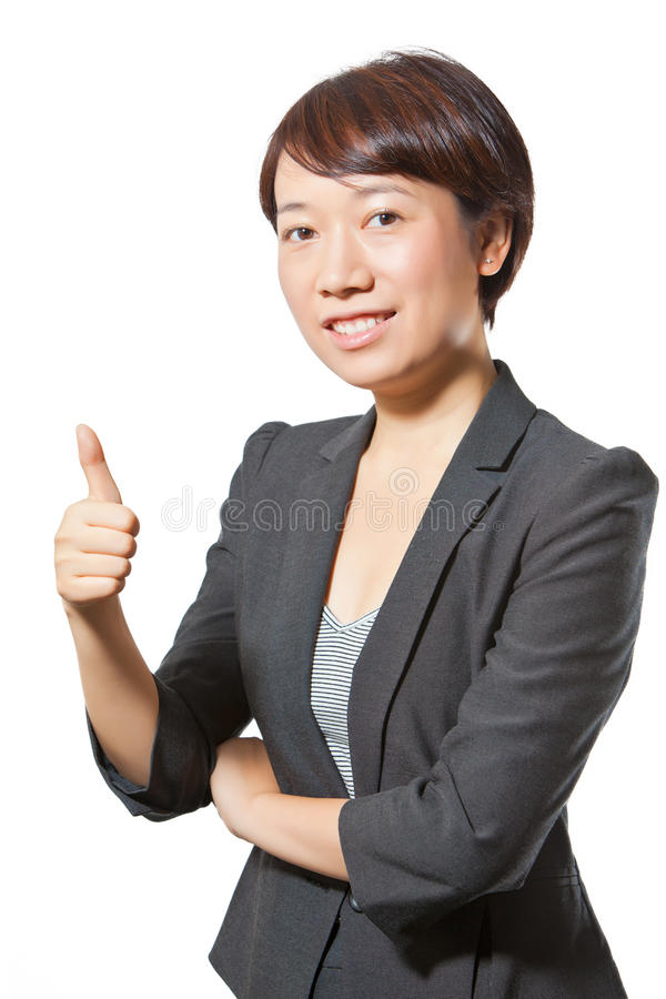Business woman showing thumbs up stock photos