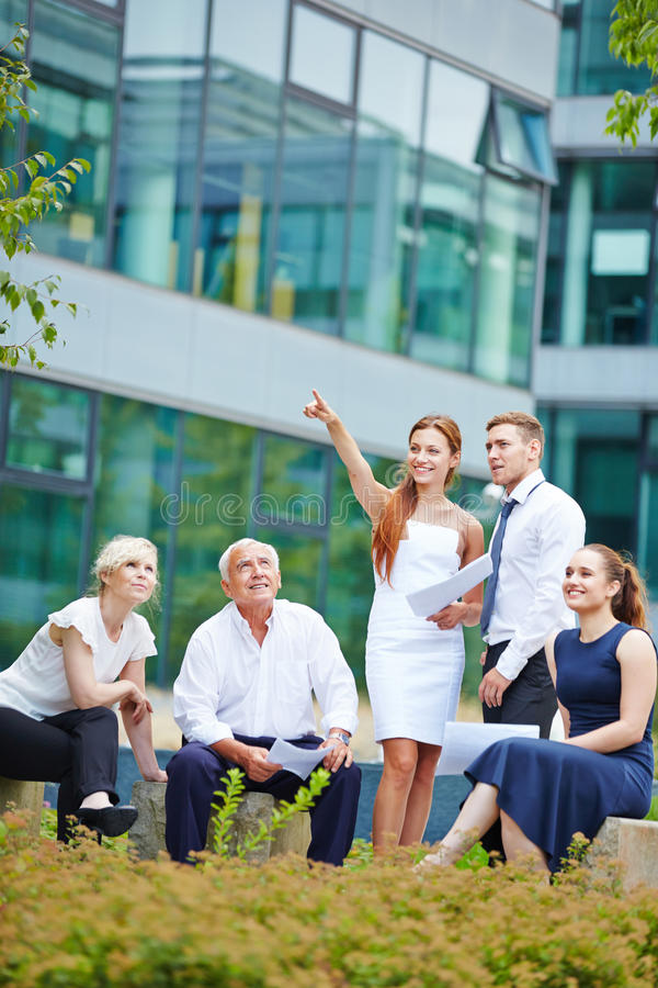 Business woman showing vision for future royalty free stock photos