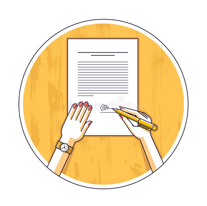 Business woman signs contract official paper document with seal, lady boss signs an order or directive, approve disposal, CEO man. Ager chief, top view of paper stock illustration