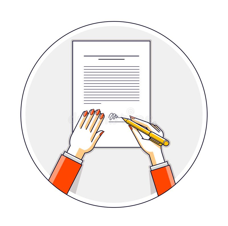 Business woman signs contract official paper document with seal, lady boss signs an order or directive, approve disposal, CEO. Manager chief, top view of paper stock illustration