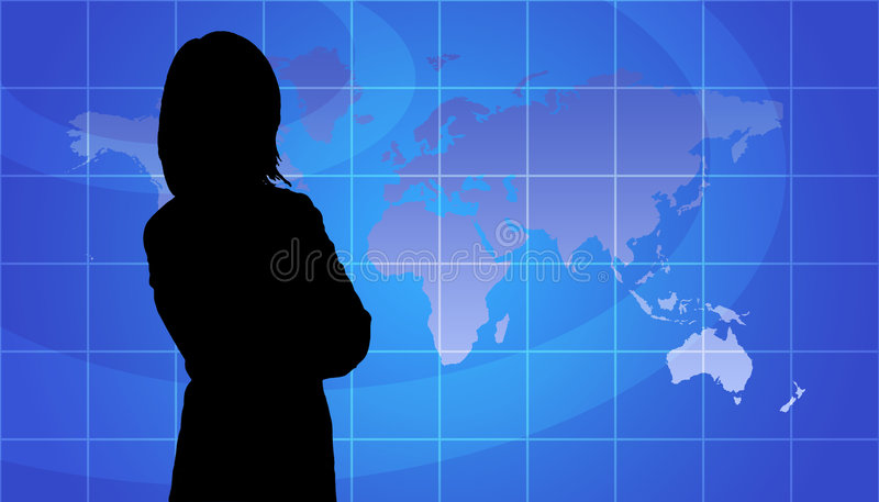 Business Woman Silhouette, World Map Background. Business Woman Silhouette In Front Of World Map Background royalty free illustration