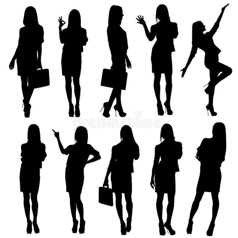 Business woman silhouettes stock illustration