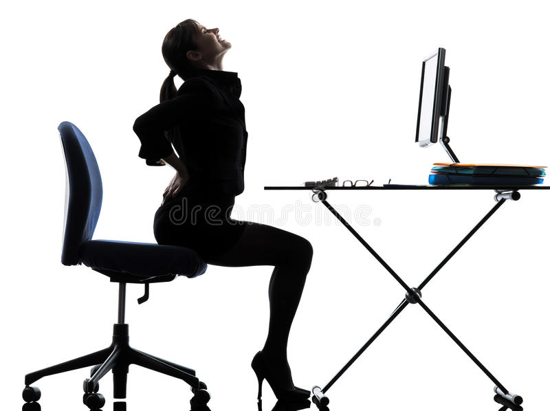 Business woman sitting backache pain silhouette royalty free stock photo