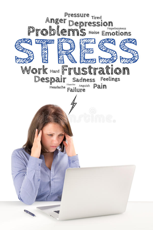 Business woman is sitting in front of a laptop under stress emotions bubble stock photos
