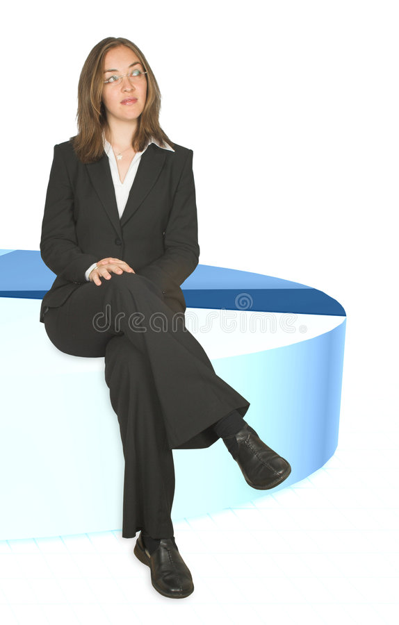 Download Business Woman Sitting On Pie Chart Closeup Stock Image - Image: 238683