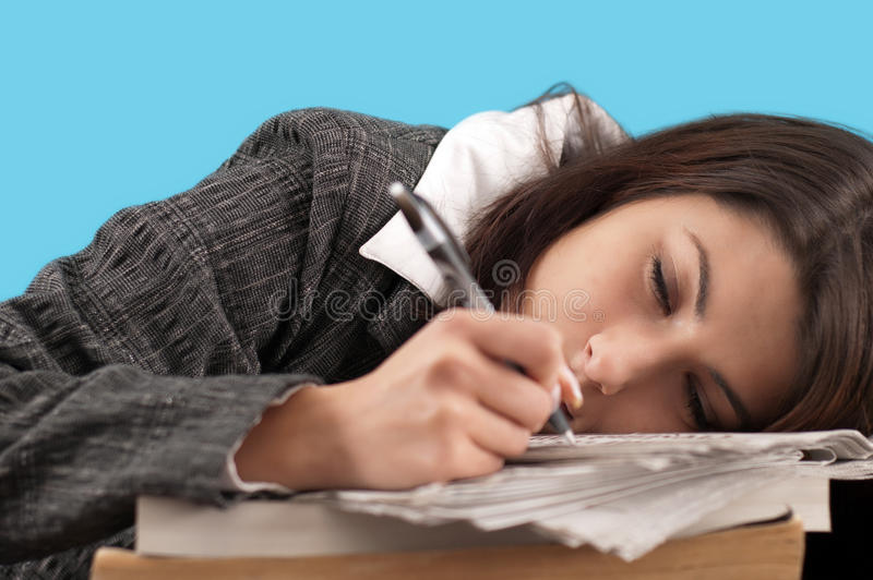 Business woman sleeping stock images