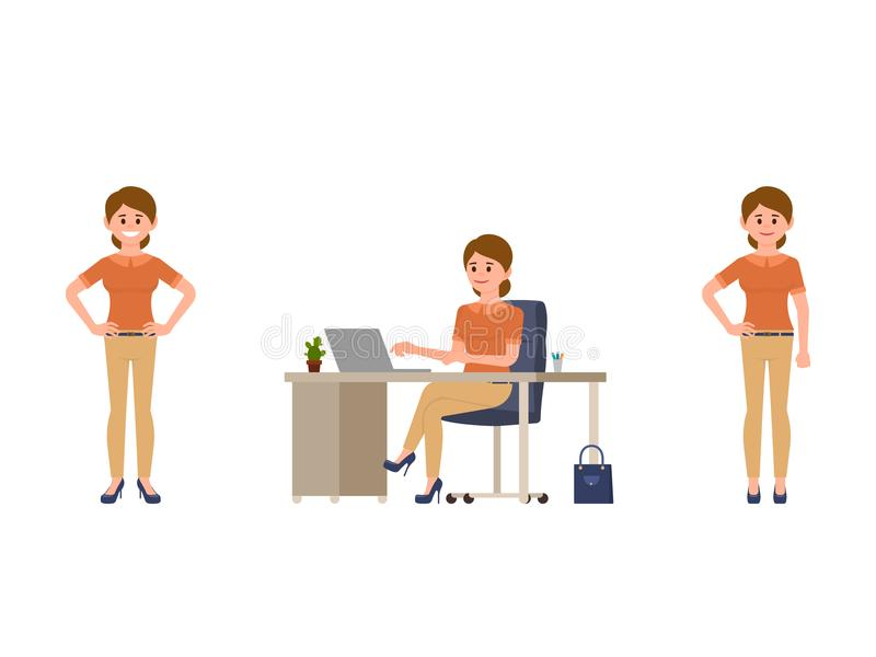 Business woman in smart casual look cartoon character. Office worker in different poses. Business woman in smart casual look cartoon character. Office worker in stock illustration