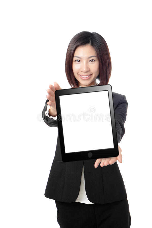 Business woman smile and showing tablet pc. Isolated on white background, model is a asian beauty royalty free stock photos