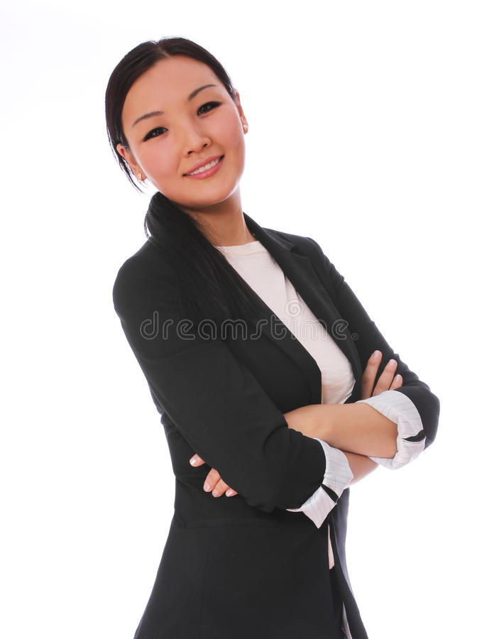 Business woman smiling with crossed arms isolated on white background. beautiful Asian woman in black business suit stock photography