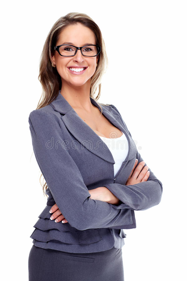 Business woman. Smiling Business woman. Isolated over white background stock photo