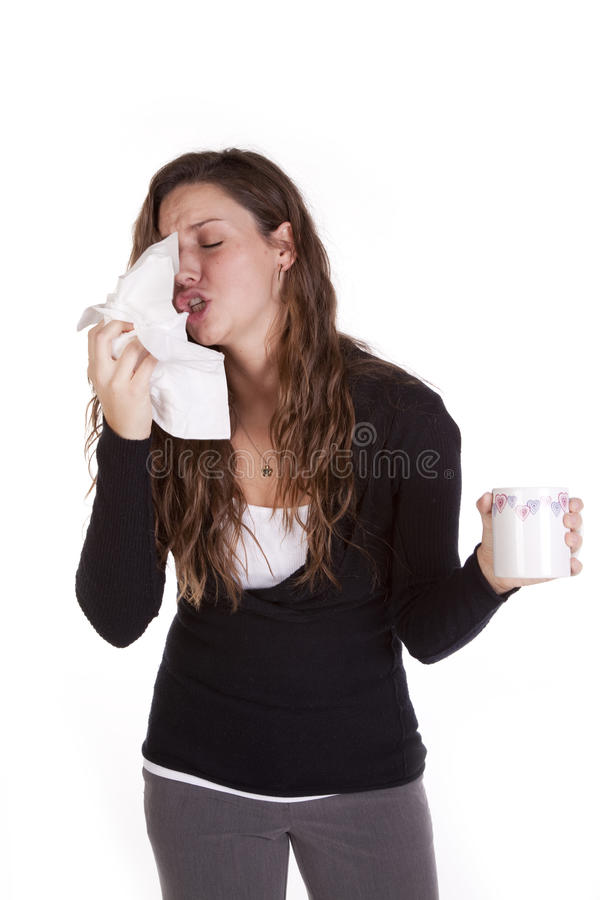 Business woman sneezing stock image