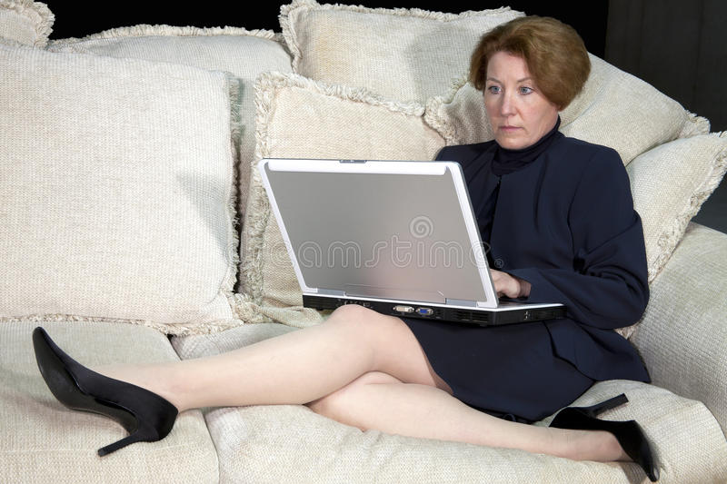 Download Business Woman on Sofa stock photo. Image of computer - 19445610