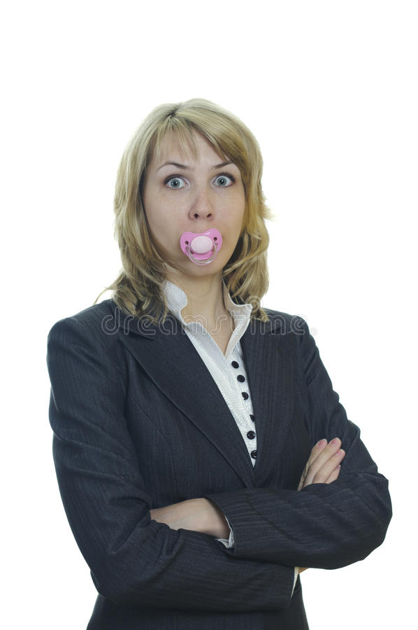 Business woman with a soother