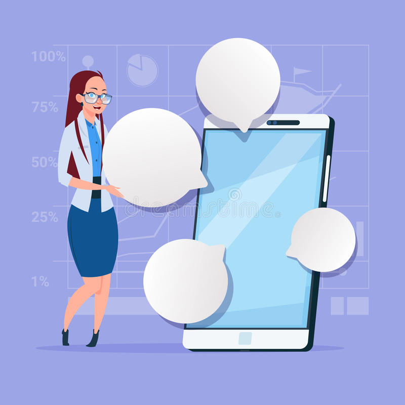Business Woman Stand With Big Cell Smart Phone Social Network Communication Businesswoman With Chat Bubble. Flat Design Vector Illustration stock illustration