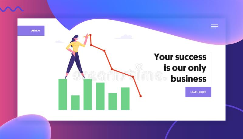 Business Woman Stand on Column Chart Drawing Broken Curve Line. Growth Data Analysis Graph, Financial Statistic Diagram vector illustration