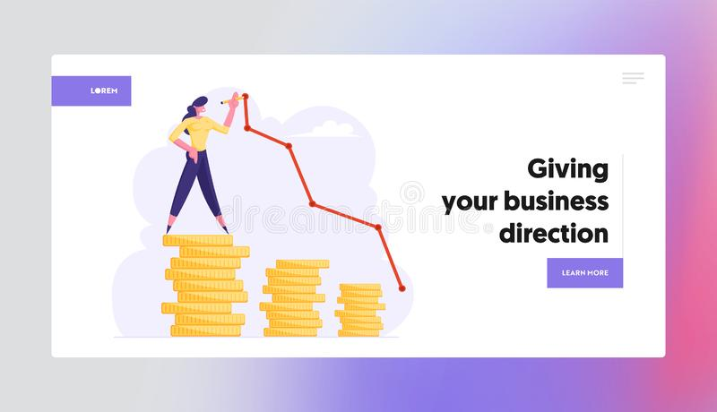 Business Woman Stand on Top of Golden Coin Stack Drawing Growing Curve Line. Finance Success, Money Wealth royalty free illustration