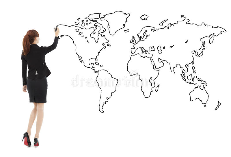 Business woman standing and drawing global map royalty free stock photo