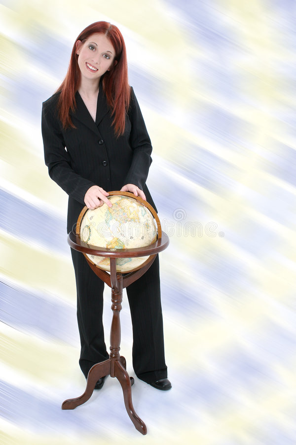 Business Woman Standing with Globe stock images
