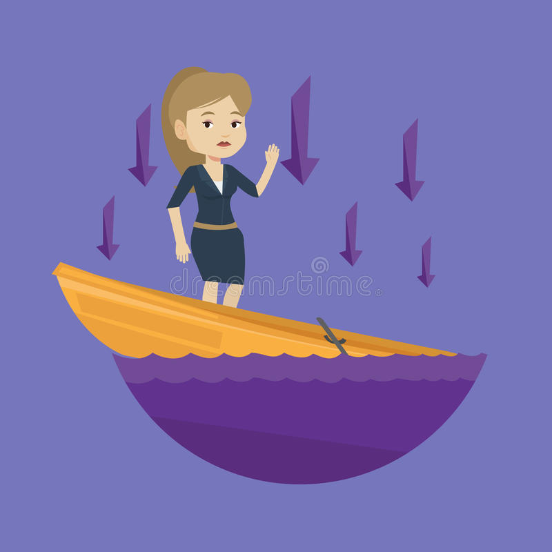 Business woman standing in sinking boat. Business woman standing in sinking boat and asking for help. Business woman sinking and arrows behind her pointing down royalty free illustration