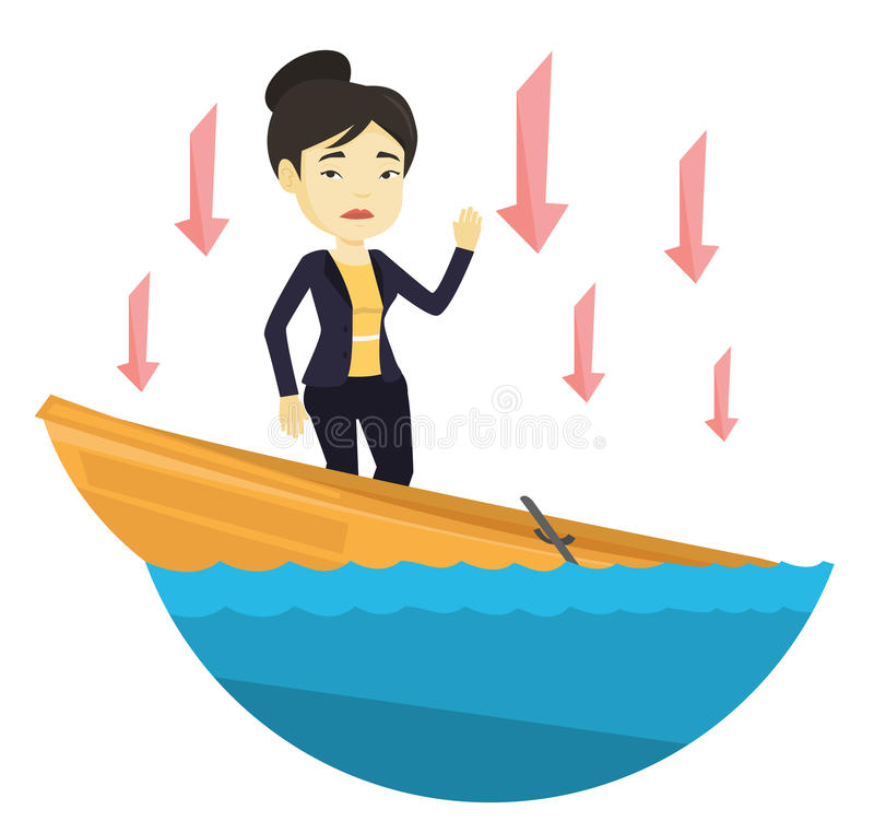 Business woman standing in sinking boat. Business woman standing in sinking boat and asking for help. Woman sinking and arrows behind her pointing down stock illustration
