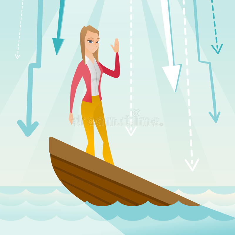 Business woman standing in sinking boat. Business woman standing in sinking boat and asking for help. Business woman sinking and arrows behind her pointing down stock illustration