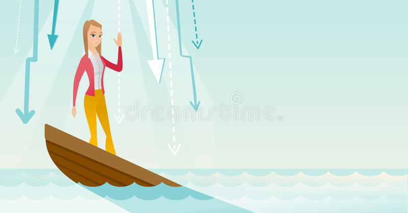 Business woman standing in sinking boat. Business woman standing in sinking boat and asking for help. Business woman sinking and arrows behind her pointing down vector illustration