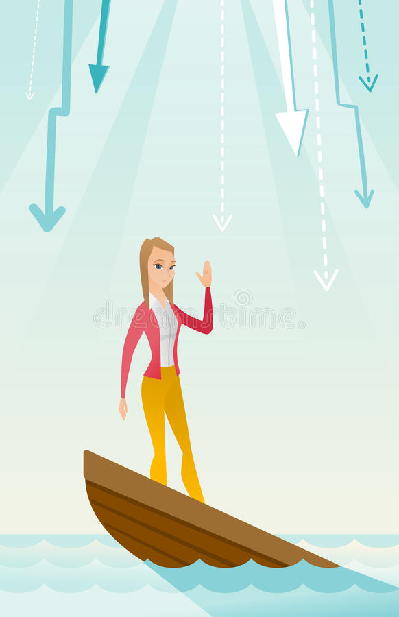 Business woman standing in sinking boat. Business woman standing in sinking boat and asking for help. Young business woman sinking and arrows behind her vector illustration