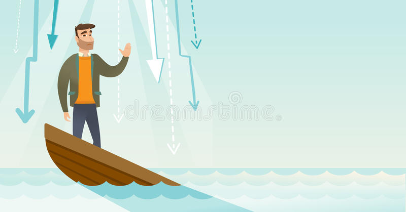 Business woman standing in sinking boat. Caucasian businessman bankrupt standing in sinking boat and asking for help. Bankrupt sinking and arrows behind him stock illustration