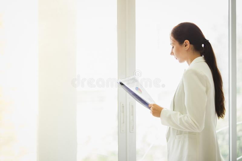 Business woman standing working royalty free stock photos