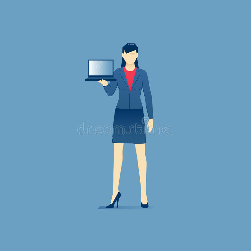 Business woman stands with an open laptop. Vector illustration of business woman character standing with an open laptop. Vector concept for banners, infographics royalty free illustration