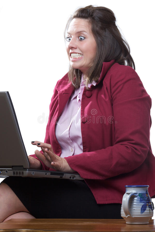 Business woman in state of shock royalty free stock photos