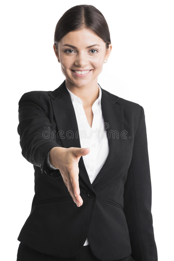 Business woman stretching hand for shaking stock images