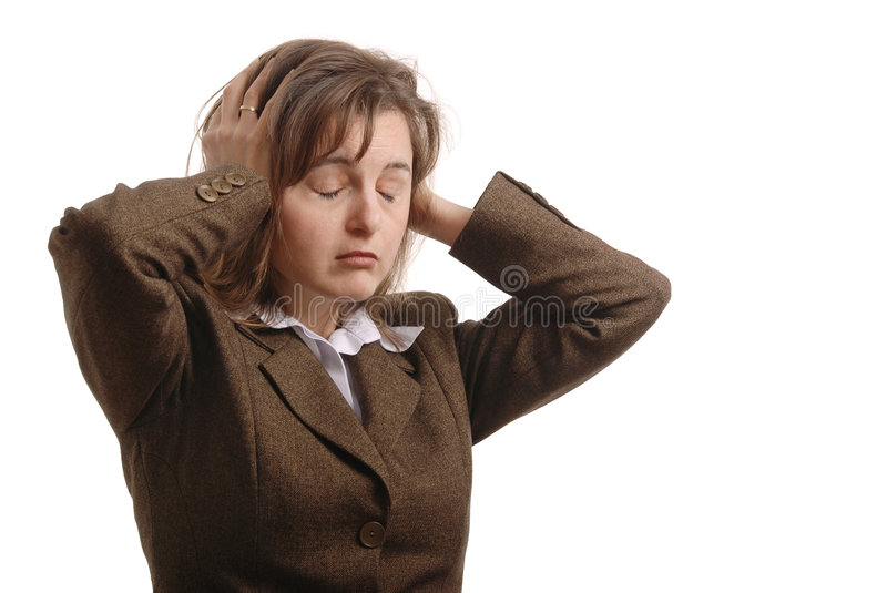 Business woman with strog headache - isolated royalty free stock photography