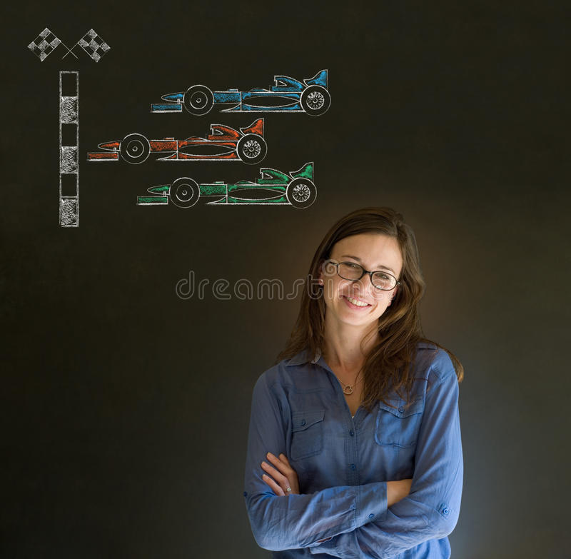 Business woman, student or teacher arms folded with glasses Formula 1 racing car fan on blackboard background royalty free stock image
