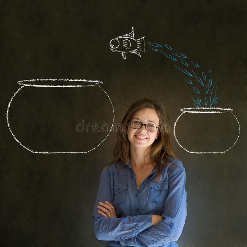 Woman with jumping fish small to big bowl stock photo