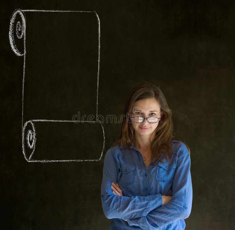 Download Woman, Student Or Teacher With Menu Scroll Checkli Stock Photo - Image: 30118746
