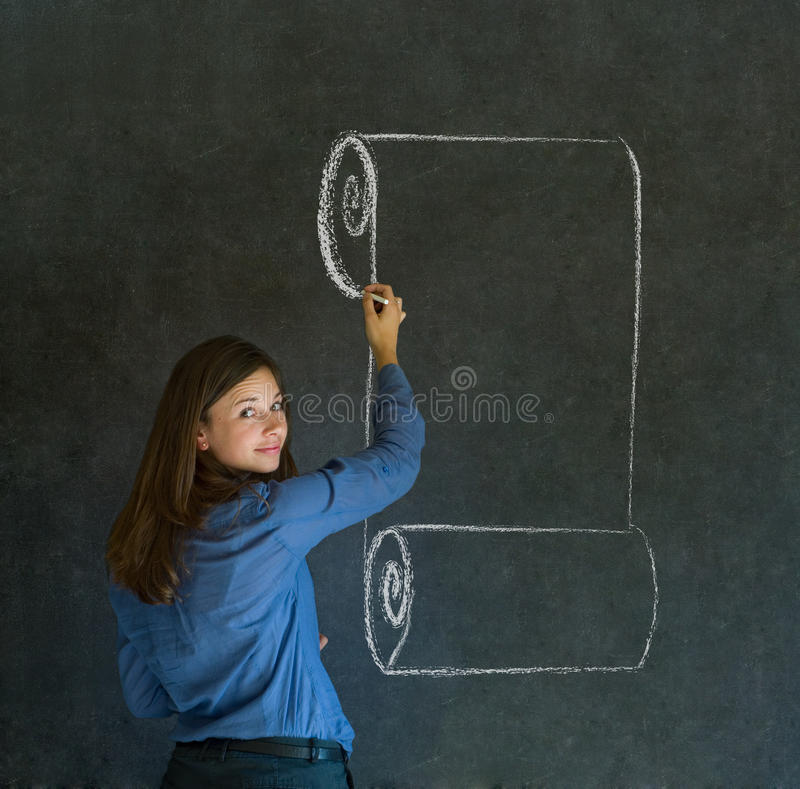 Woman, student or teacher with menu scroll writing on board stock photos