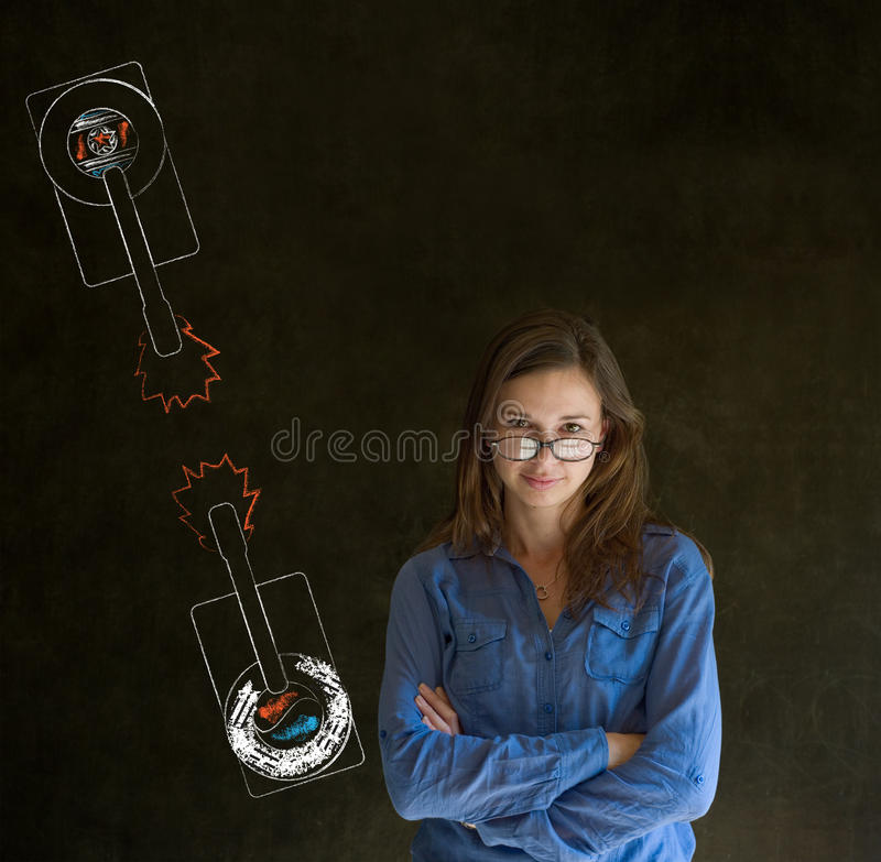 Download Woman With North And South Korea Conflict War Tanks On Blackboard Background Stock Photo - Image: 30303572